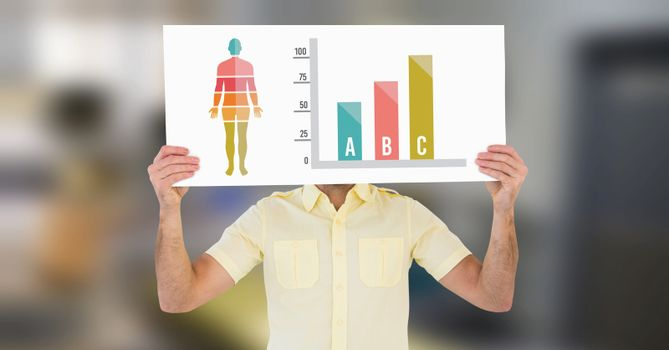 Human Body Chart and man holding card