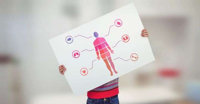 Human Body chart and boy holding card