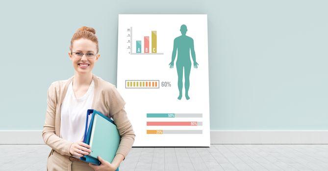 Educational Human Body Chart on card with teacher