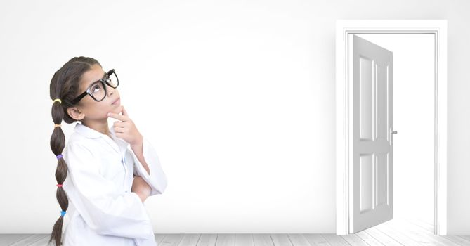girl thinking near open door opportunity