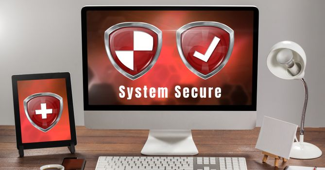 Antivirus security protection shields on computer system