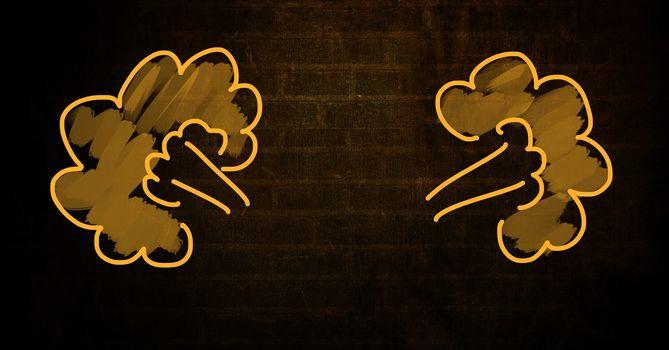 Billowing smoke graphics on wall