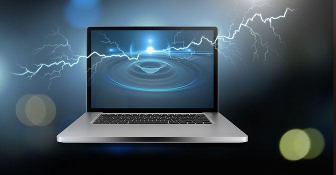 Lightning strikes and laptop