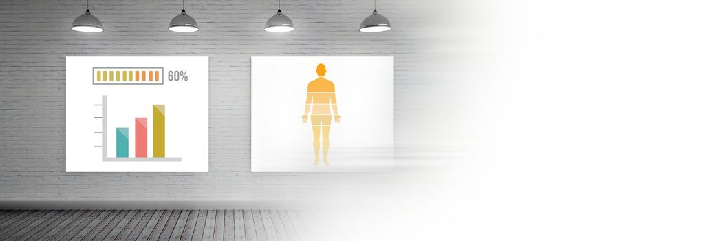 Educational human body statistical charts on wall and blank transition