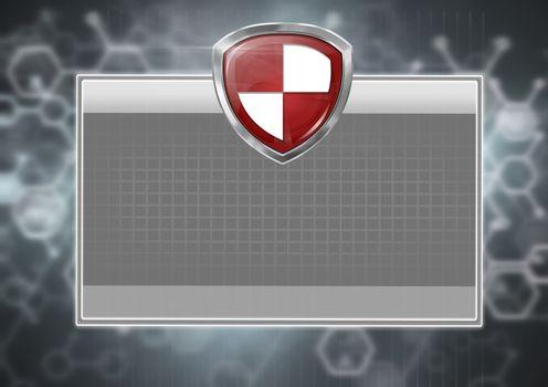 Antivirus protection security shield on grey box