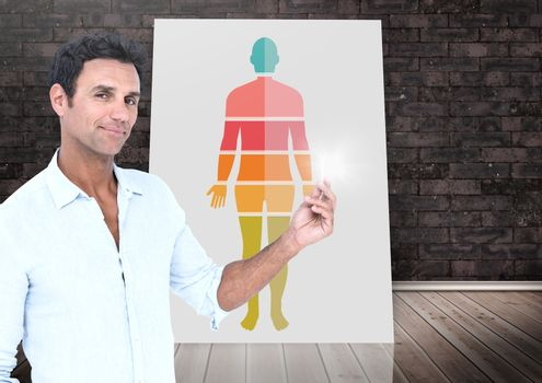 Human Body sections on card and man posing