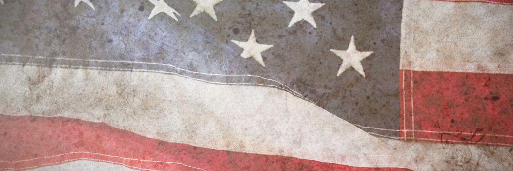 High angle view of an American flag