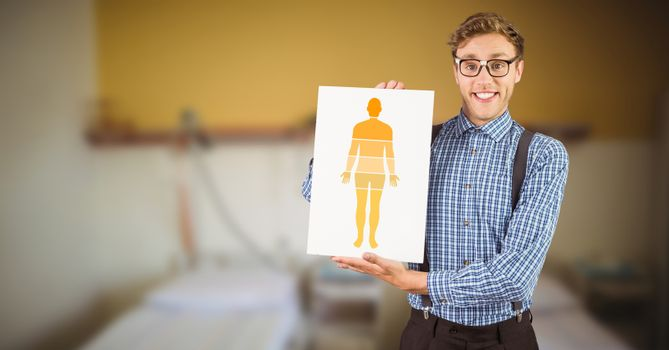 Human Body diagram sections and man holding card