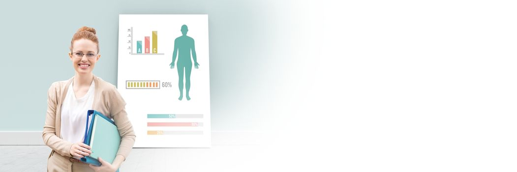 Educational Human Body Chart on card with teacher and blank transition