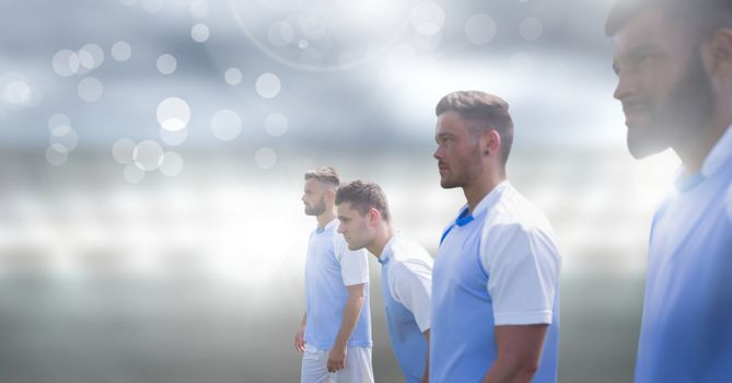Soccer players with sparkle light effect