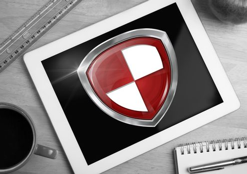Antivirus security protection shield on tablet