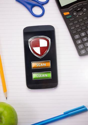 Antivirus security protection shield on phone scan