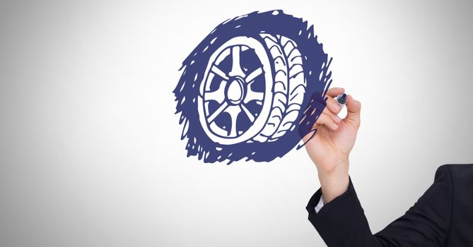 Sketch of tyre and hand drawing
