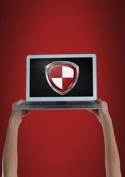 Antivirus security protection shield on laptop