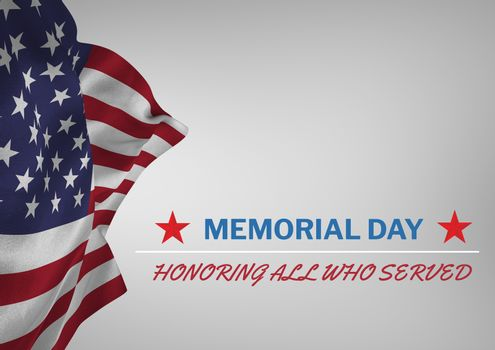 Memorial day text with USA  flag
