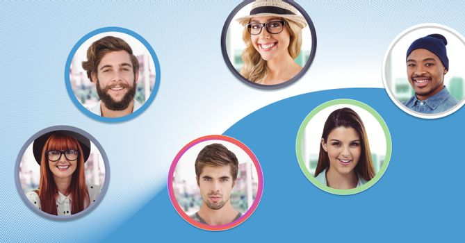 Digital composite of profile people bubbles