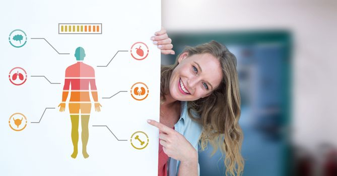 Human Body Chart and woman holding card