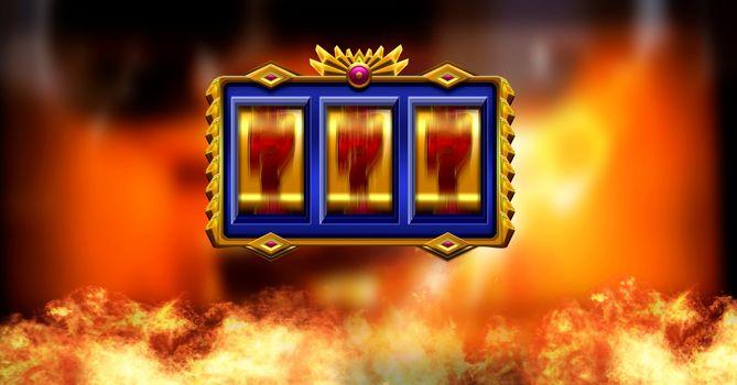 Casino slot machine and burning fire