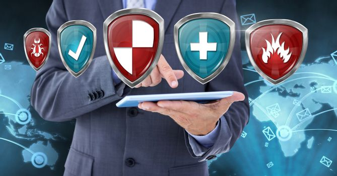 Antivirus security protection shields and man with tablet