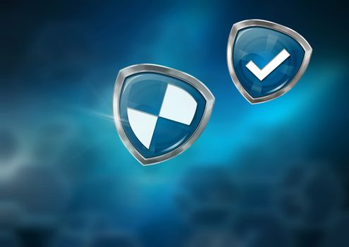 Antivirus security protection shields with gradient background