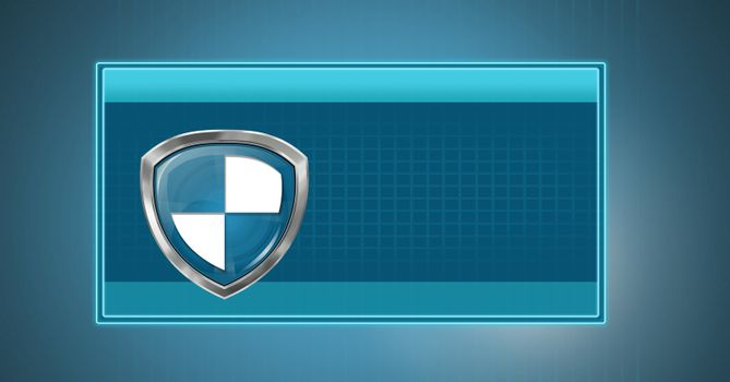 Antivirus security protection shield in blue box