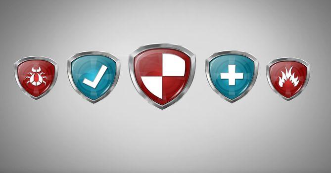 Antivirus security ction shields on grey background