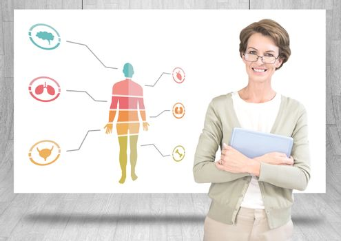 Educational human body chart on hanging card with teacher
