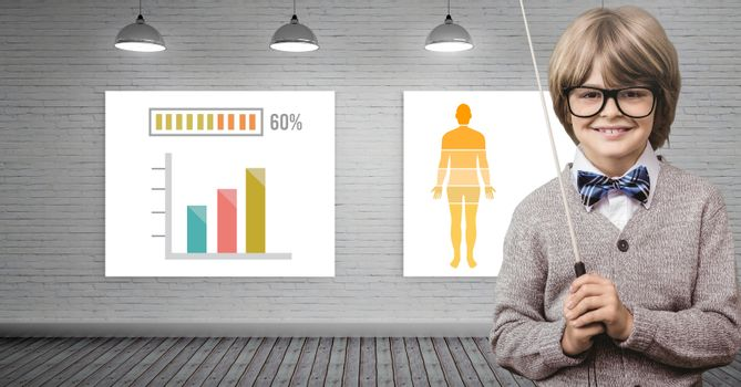 Educational human body statistical charts and boy teacher