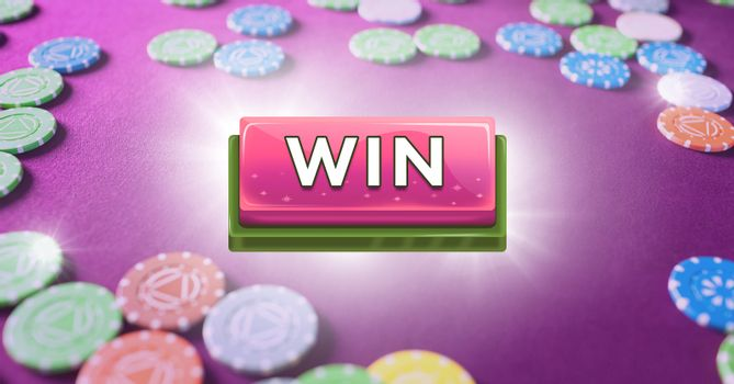 Win button with casino chips