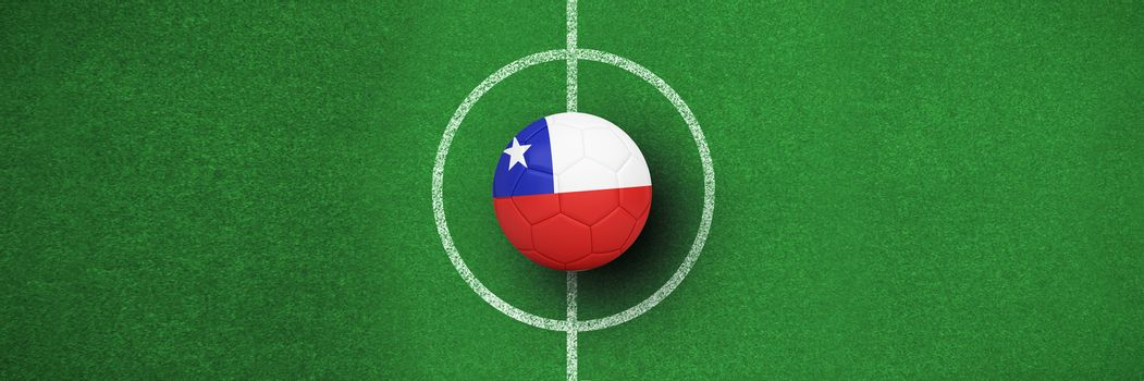 Composite image of football in chile colours