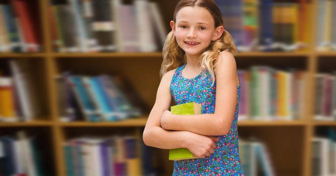 Digital composite of Girl in education library