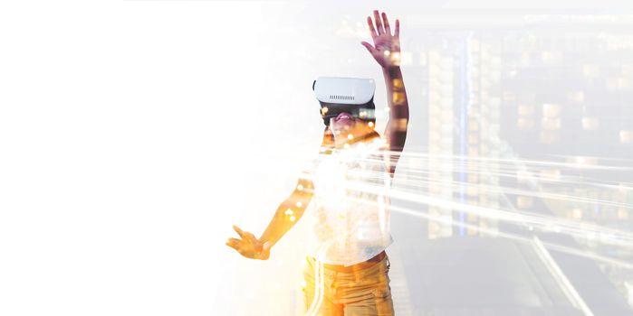 Girl wearing virtual reality simulator
