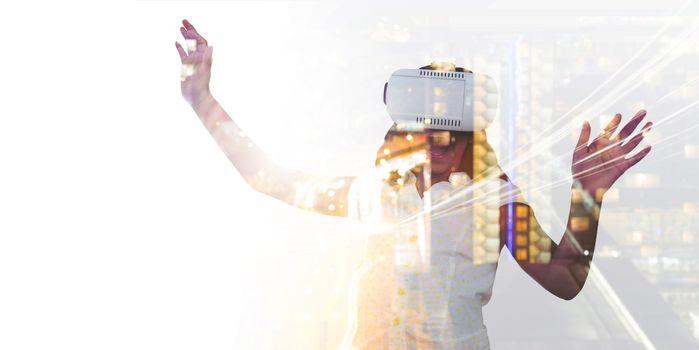 Girl enjoying while wearing virtual reality simulator
