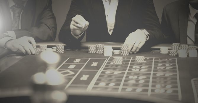 Digital composite of People playing in casino