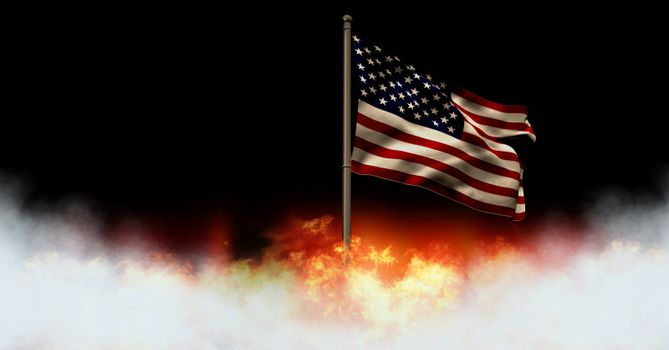 America flag and burning fire