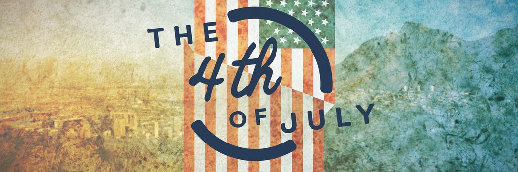 Colorful happy 4th of july text against white background against new york