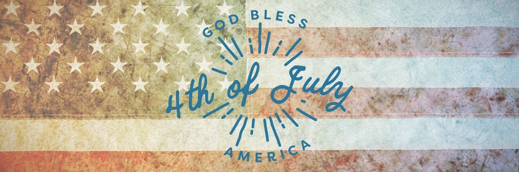 Digitally generated image of happy 4th of july message against american national flag with stars and stripes