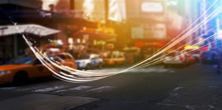 Blurry new york street