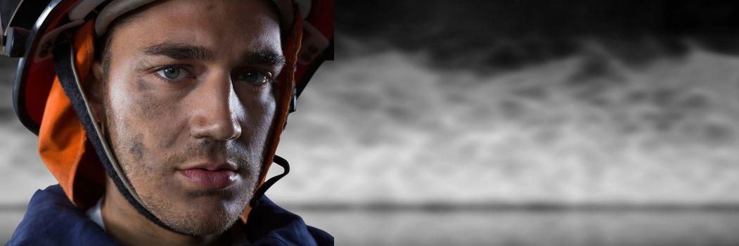Close-up of serious fireman