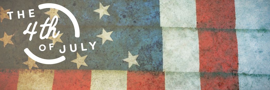 Colorful happy 4th of july text against white background against folded american flag