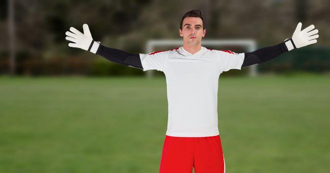 Soccer goalkeeper near goal