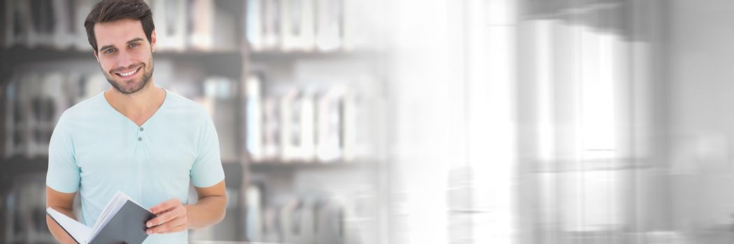 Digital composite of Student man in education library with transition