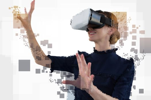 Digital composite of woman with an augmented reality simulator