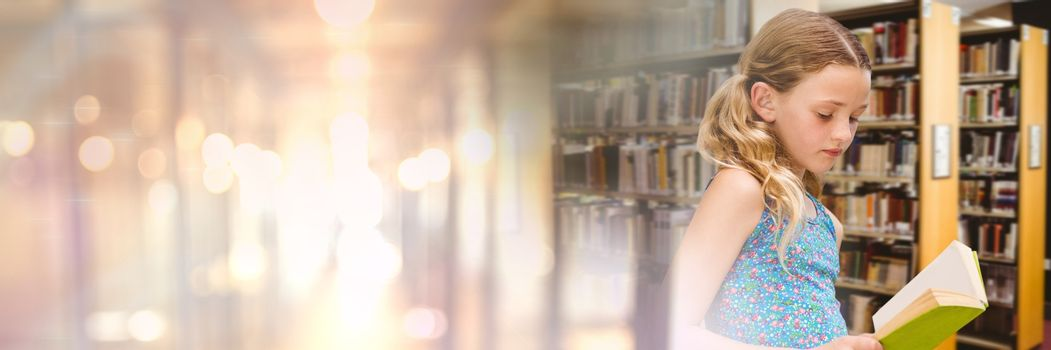 Digital composite of Girl in education library with transition