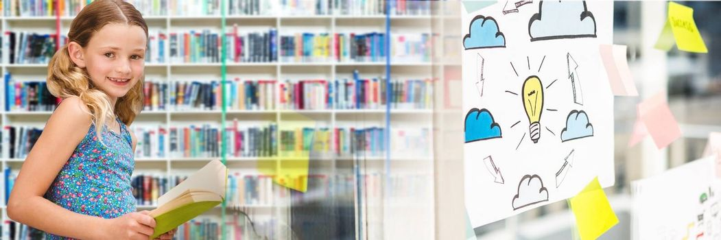 Digital composite of School girl in education library with transition