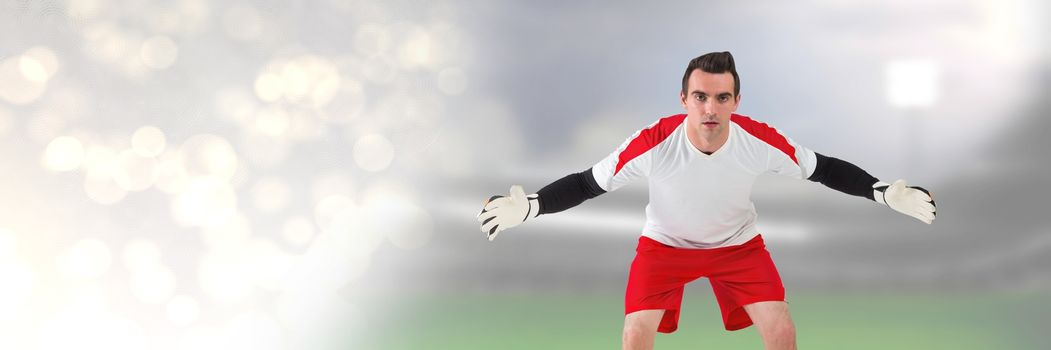 Soccer goalkeeper in stadium with transition