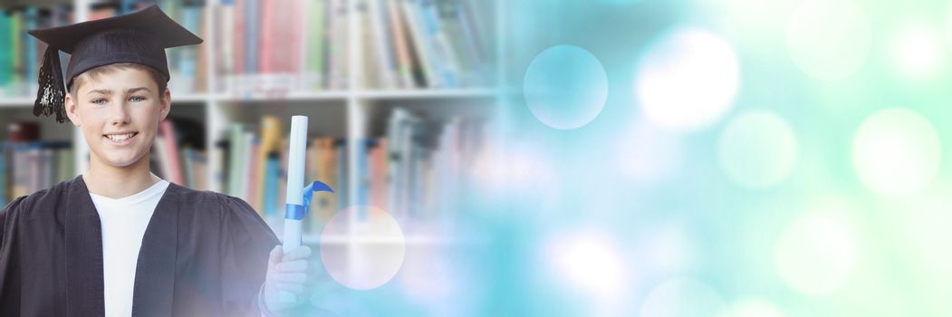 Digital composite of Student boy graduating in education library with transition