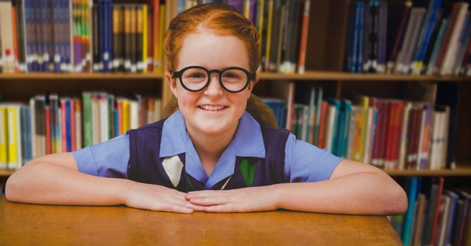 Digital composite of School girl in education library