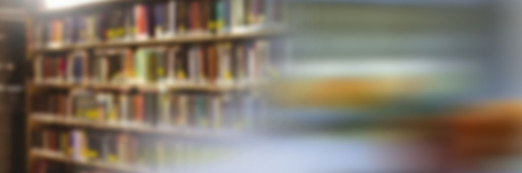 Digital composite of Education library with colorful motion blur transition