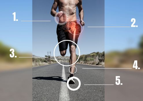 Runner With Pointed Out Bones And Pain Area